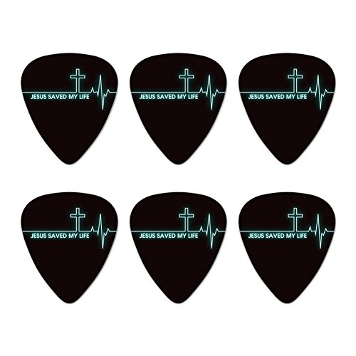 Pick Jesus Guitar Picks - Jesus Saved My Life EKG Heart Rate Pulse Religious Christian Novelty Guitar Picks Medium Gauge - Set of 6