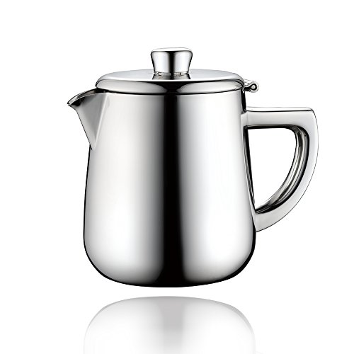 Minos Stunning Classy Hand Polished Stainless Steel Teapot - 34 OZ - With Tea Strainer And Heatproof Hollow Stainless Steel Handle