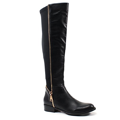 Caliente Point Up Black Vegan Leather Over Knee Gold Zipper Elastic Stretch Boot (10) by Caliente