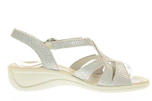Donna soft Enval Scarpa Made Pelle Italy Sandalo In 7970 Argento Zeppa qTx4wxAZ