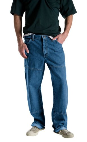 Dickies Men's Relaxed Fit Double Knee Carpenter Jean, Stone Washed Indigo Blue, 36x30