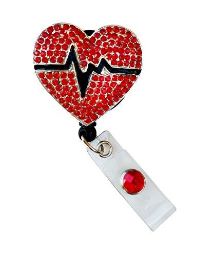 (Sizzle City Rhinestone Brooch Badge Reels, Nurse Badge Retractable ID Badge Holder, Name Tag (Bling Red EKG Heart Reel))