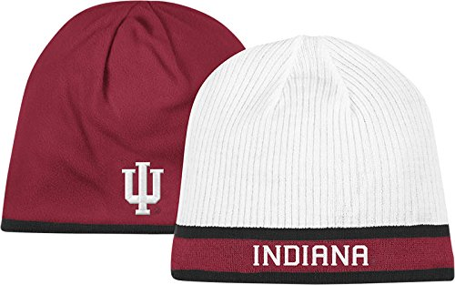 Indiana Hoosiers adidas White/Red Sideline Player Reversible Knit Hat (Player Sideline White)