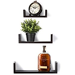 Floating Shelves Set of 3 Wall Shelves - Espresso Finish Wooden Shelves Saganizer