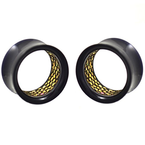 (Pair of Black Acrylic & Pebbled Gold-Tone Glitter Interior Tunnels Ear Plugs Gauges - 7/8