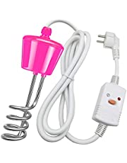 Immersion Heater with Leakage Protection Switch, Household Stainless Steel Suspension Immersion Electric Water Heater, High Power Water Heating Rod With Temperature Tester,Pink,2500W
