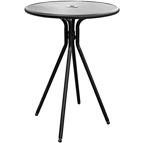 American Tables & Seating ABB30 Outdoor Bar Height Round Table, Fine Mesh Top, Umbrella Hole, 30