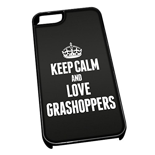 Nero cover per iPhone 5/5S 2431 nero Keep Calm and Love Grashoppers