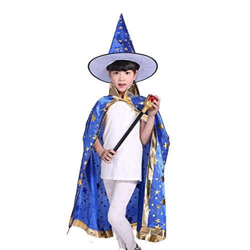BinaryABC Halloween Costumes Witch Wizard Cloak with Hat for Kids Children (Blue) -