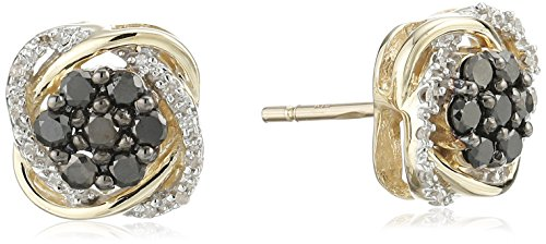 10k Yellow Gold Black and White Diamond Earrings (2/5 cttw, I-J Color, I2-I3 Clarity)