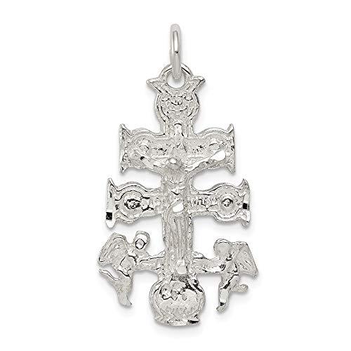 (925 Sterling Silver Cara Vaca Crucifix Charm Pendant )