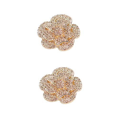 (Douqu Champagne Gold Silver Crystal Rhinestone Rose Flower Shoe Charm Clips Pair Wedding Jewelry (Gold))