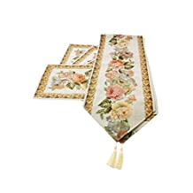 Generic Jacquard Design Decor Elegant Rose Flower Table Runner and Placemat for Table,Dining,Kitchen,Wedding (Pack of 1 Set)
