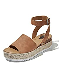 DailyShoes Womens Casual Espadrilles Trim Rubber Sole Flatform Studded Wedge Buckle Ankle Strap Open Toe Sandals