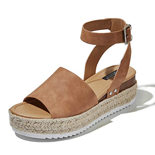 DailyShoes Women's Chunky Strappy Flat Platform Flatform Sandals Espadrilles Ankle Strap Buckled Spring Hot Fashion Summer Open Toe Beach Casual Espadrille Buckle Shoes Sandal Tan,n,b,5.5