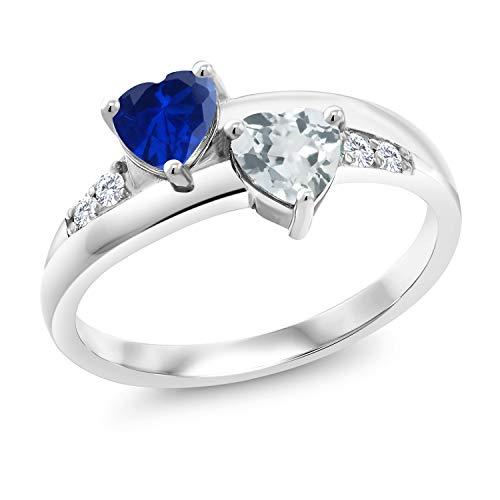Gem Stone King 1.07 Ct Blue Simulated Sapphire Sky Blue Aquamarine 925 Sterling Silver Lab Grown Diamond Ring (Size 8) ()