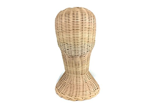 Mannequin Short Wicker Rattan Head Wig Stand Handcraft Antique Display Handmade (Antique Rattan)