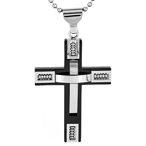 Men's Black IP Stainless Steel 3D Beaded Cross Pendant Necklace - 24