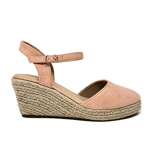 (TOP Moda Wishing-5 Women's Closed Toe Buckle Strap Espedrilles Sandals (6.5 M US, Blush))