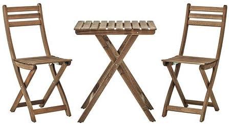 IKEA ASKHOLMEN - Mesa y 2 sillas - Exterior - Gris, Marrón ...