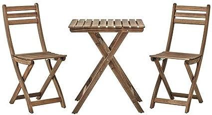 Ikea ASKHOLMEN - Mesa + 2 sillas, al Aire Libre, Gris, marrón ...