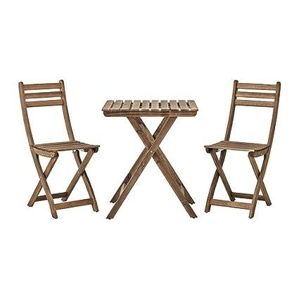 IKEA Askholmen - mesa + 2 sillas, para exteriores, gris ...