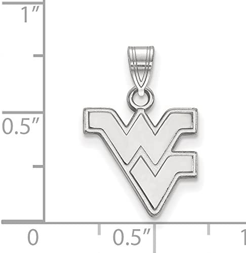 10k White Gold West Virginia Mountaineers School Letters Logo Pendant 14x14mm