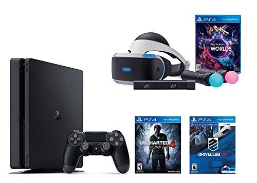 PlayStation VR Launch Bundle 3 Items:VR Launch Bundle,PlayStation 4 Slim 500GB Console – U,VR Game Disc PSVR DriveClub ncharted 4