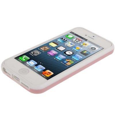 """iPhone 5 / 5S Hülle / Case aus Silikon in weiß / rosa im """"Qube-Pattern-Style"""" mit Ausschnit für das Apple Logo -Original nur von THESMARTGUARD-"""