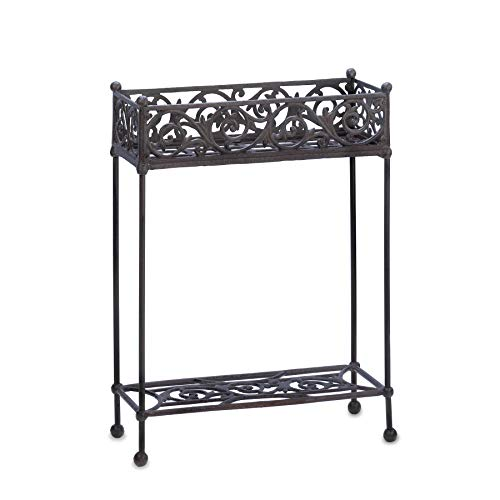 Rectangular Candle Sconce - Cast Iron Rectangle Slender Two Tier Plant Stand Shelf