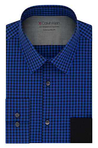 Calvin Klein Men's Dress Shirts Xtreme Slim Fit Check-Thermal Stretch