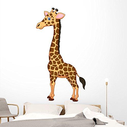 Cute Giraffe Cartoon Wall Decal by Wallmonkeys Peel and Stick Graphic (72 in H x 38 in W) WM320237