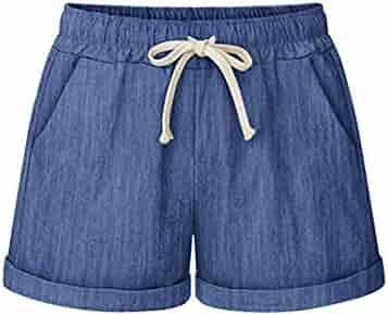 51bbb5a3cd Women's Elastic Waist Drawstring Shorts Summer Casual Comfy Cotton Beach  Short Han Shi
