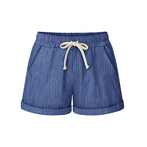 Women Short Pants, JOYFEEL ❤️ Ladies Cotton Linen Casual Elastic Waist Pants Drawstring Solid Summer Walking Shorts Dark Blue