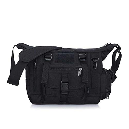 51a54cf6fbee Military Shoulder Bag Large Water Resistant Daypack with Molle 14 Inch  Laptop Crossbody Messenger Bag for Hunting Camping Trekking Men Women Black