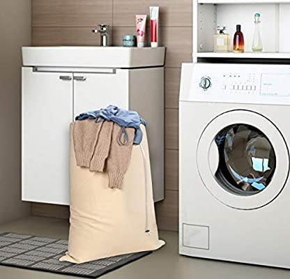 60x90 cm Clinica de Algod/ón Set de 2 Bolsa de lavander/ía Tela Grande Ropa Sucia para Ba/ño con Organizador Lavander/ía para Cocina Dormitorio Hotel de Viaje Lavable Reutilizable