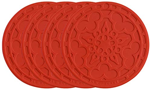 """Le Creuset Silicone French Coasters, Set of 4 - 4"""" diameter , Cerise"""