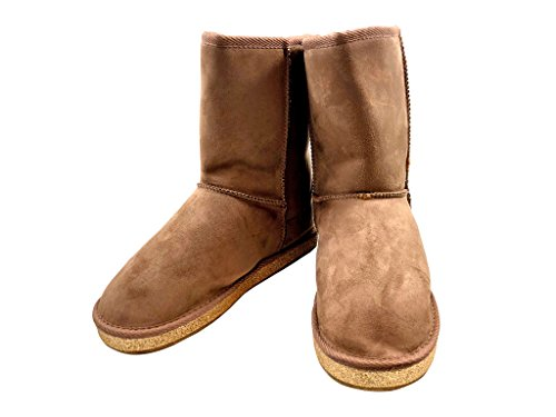 ShopAegis Glaze. [Taupe] Suede Stylish Women's Gold Glitter Bottom Classic Bella Mid Calf Winter Boots Trendy Lounge Size (Gold Belle Lighting)
