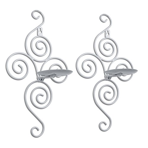 (Pasutewel Wall Candle Sconces,Set of 2 Elegant Swirling Iron Hanging Wall Mounted Decorative Candle Holder 14x7 Inch For Home Decorations,Weddings,Events)