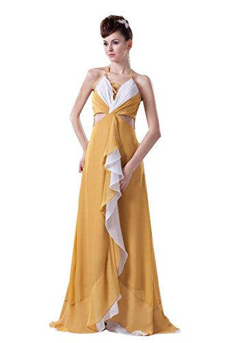Beauty-Emily Maxi Sleeveless Spaghetti Strap Hollowed-out Christmas Gifts Night Evening Dresses Color Goldenrod,Size US20W by Beauty-Emily (Image #1)