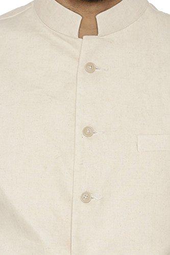 Chaleco Nehru Conjunto Blend 46 Beige 100 Kurta Negro Wintage Étnico 2xl Pijama Lino Algodón Largo Chaqueta Khadi De Tamaño Blanco 6PxZwqp7