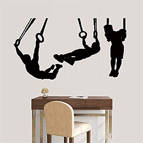 (Art DIY Removable Mural Room Mural Silhouette Gymnasts Gymnastics Rings Sports Wall Decals Decor Vinyl Stickers SK2952)