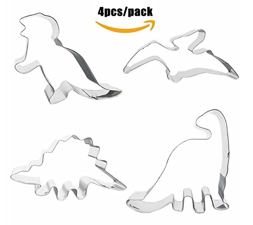 4 Dinosaur Shaped Cookie Cutters – Stainless Steel Dino Shape Molds – T Rex Brontosaurus Pterodactyl Stegosaurus Shapes – Gift box set by Jolly (Day Cookie Cutter)