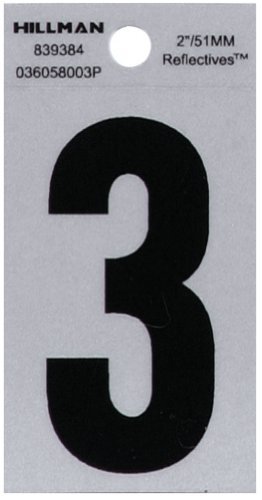 reflective number 3 - 8