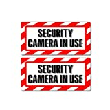 Security Camera In Use Sign – Alert Warning – Set of 2 – Window Business Stickers