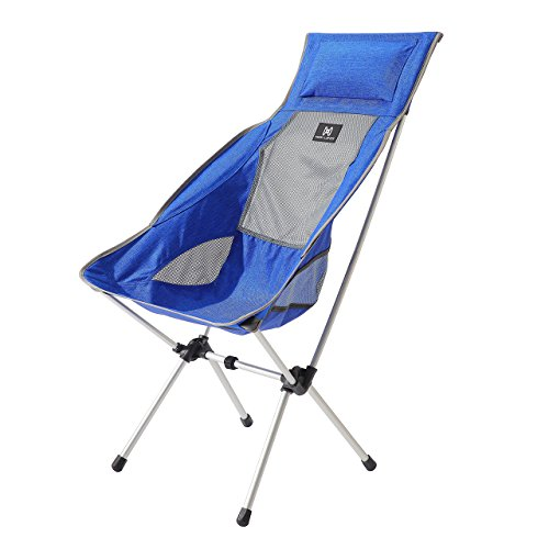 Moon Lence Ultralight Portable Folding Camping Backpacking Chairs with Carry Bag (Lonuge chair blue)