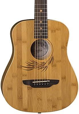33600337c5 Amazon.com: Luna Safari Bamboo Acoustic Travel Guitar with Gig Bag, Satin  Natural: Musical Instruments