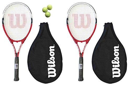 2 x Wilson Federer 110 Tennisschläger L3 + 3 Tennisbälle