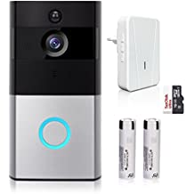 Video Doorbell, Smart Doorbell 720P HD WiFi Security Camera Chime 16G Memory Storage, Real-Time Two-Way Talk Video, Night Vision, PIR Motion Detection App Control iOS Android