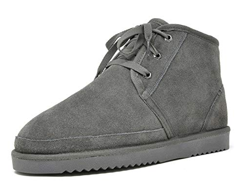 DREAM PAIRS Men's Wolly-01 Grey Suede Sheepskin Fur Winter Boots Size 10 M US